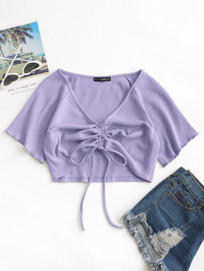 ZAFUL Textured Cinched Tie Raglan Sleeve Top - Light Purple M