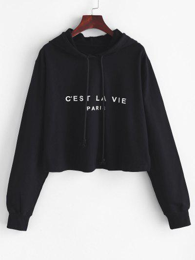 Boxy Paris Graphic Hoodie - Black M
