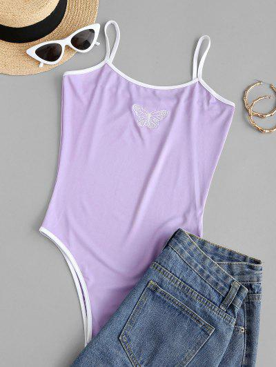 Cami Butterfly Embroidered Ringer Bodysuit - Mauve S