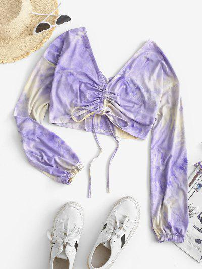 ZAFUL Cinched Front Cropped Tie Dye Top - Light Purple S