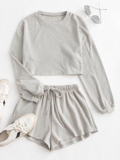 Knitted Drop Shoulder Drawstring Shorts Set - Light Gray S