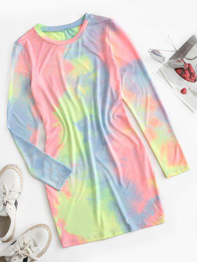 ZAFUL Tie Dye Long Sleeve Bodycon Dress - Multi-a Xl
