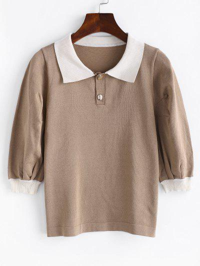 Puff Sleeve Colorblock Knit Top - Light Coffee