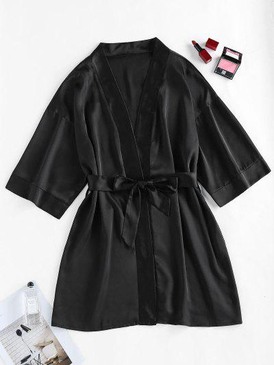 ZAFUL Satin Drop Shoulder Belted Pajama Robe - Black L