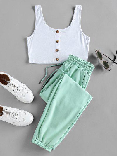 ZAFUL Crop Top And Drawstring Jogger Pants Set - Light Green S