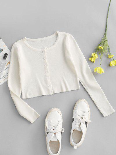 Plain Button Up Cropped Knitted T Shirt - White