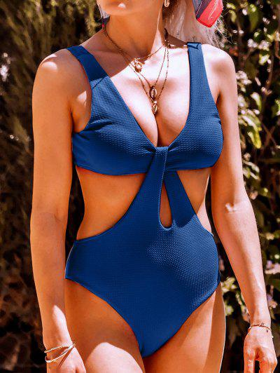 Texture Twisted Cutout Trikini Swimsuit - Blue Xl