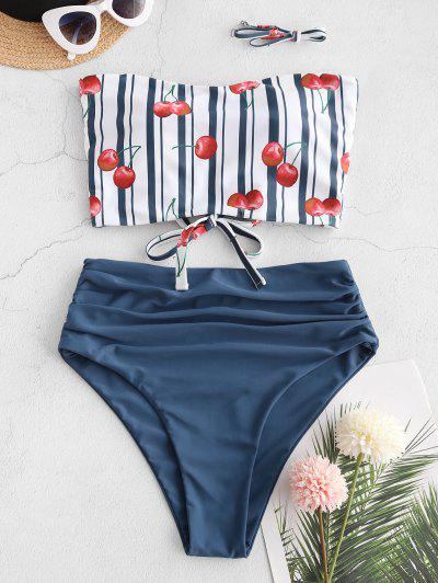 ZAFUL Cherry Striped Lace-up Ruched Bandeau Tankini Swimsuit - Deep Blue L