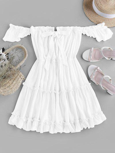 ZAFUL Off Shoulder Bowknot Ruffle Dress - White M
