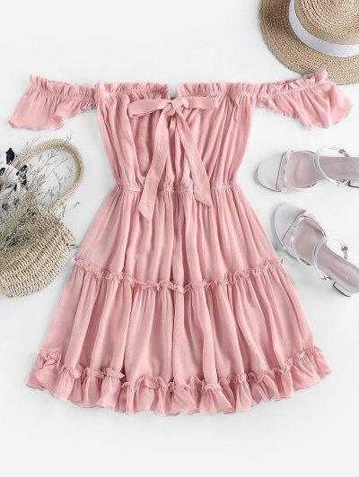 ZAFUL Off Shoulder Bowknot Ruffle Dress - Pink S