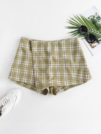 ZAFUL Plaid Overlap Shorts - Light Green S