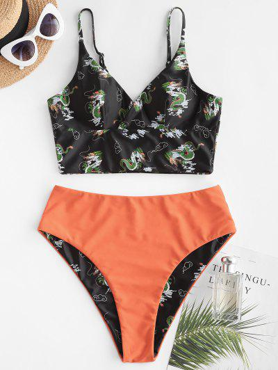 ZAFUL Dragon Print Oriental Surplice Tankini Swimwear - Dark Orange 2xl