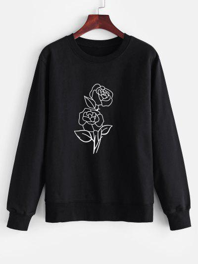 Crew Neck Rose Print Sweatshirt - Black L