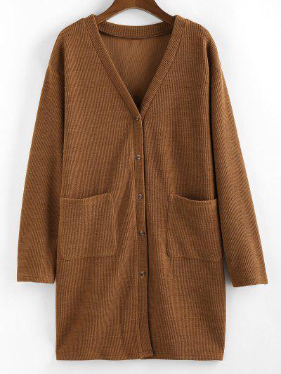 ZAFUL Button Up Front Pockets Cardigan - Tiger Orange L