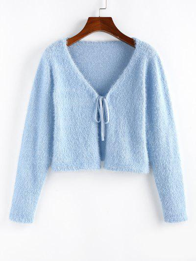 ZAFUL Fuzzy Tie Front Plunging Cardigan - Light Blue M