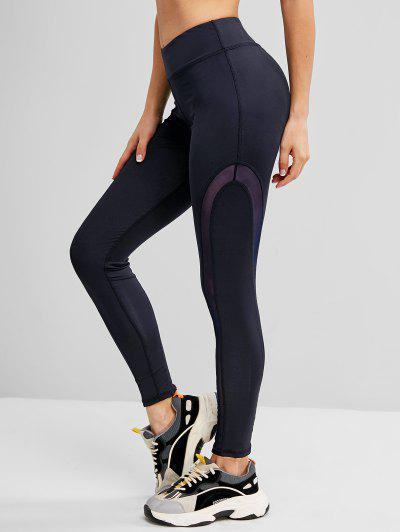 Mesh Panel Topstitch High Waisted Gym Leggings - Deep Blue M