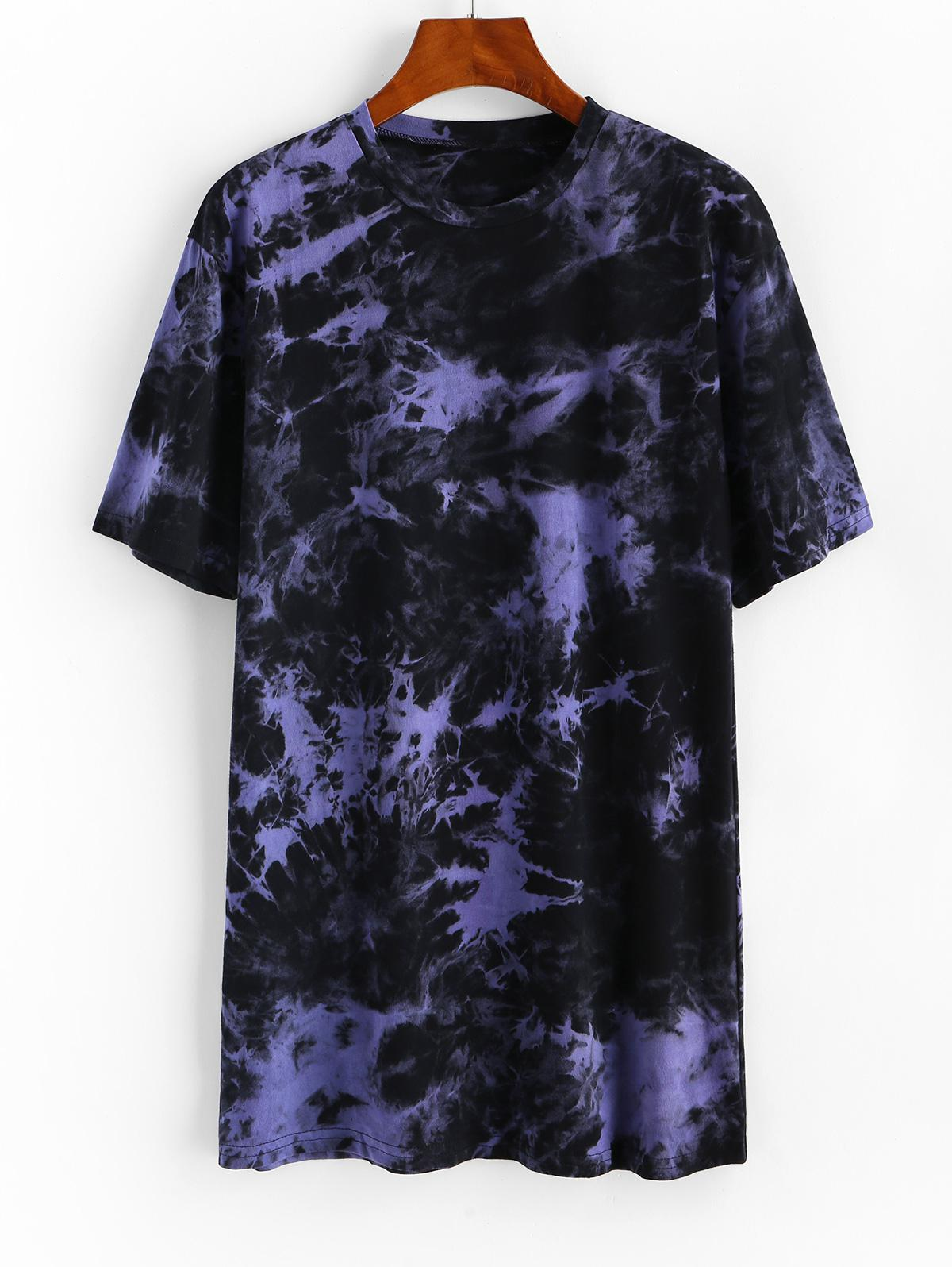 Longline Tie Dye Boyfriend Tee, ZAFUL  - buy with discount