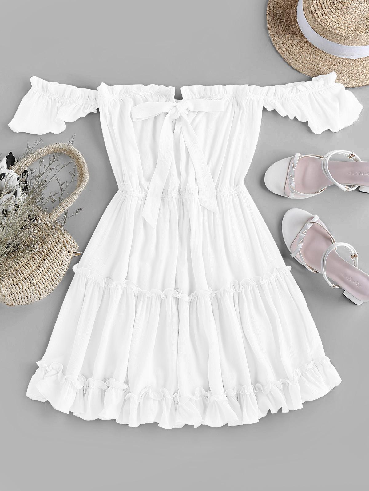 ZAFUL Off Shoulder Bowknot Ruffle Dress