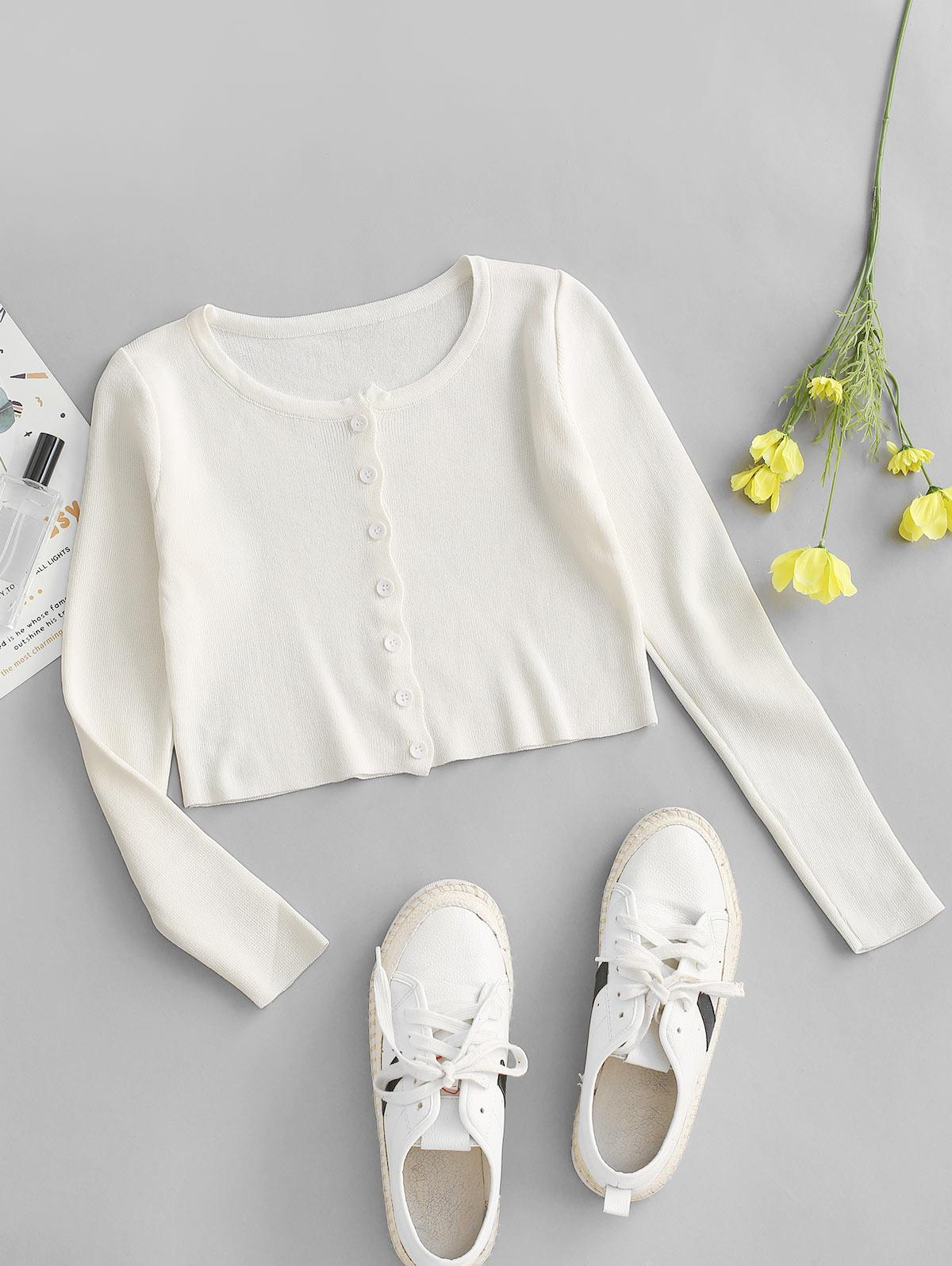Plain Button Up Cropped Knitted T Shirt