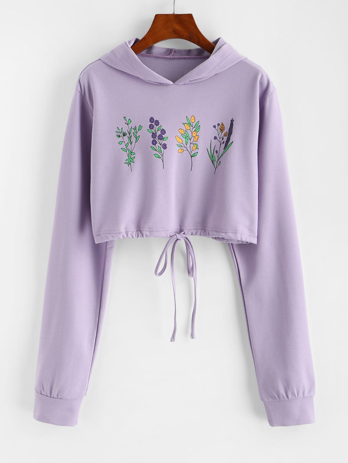 Flower Print Drawstring Pullover Crop Hoodie