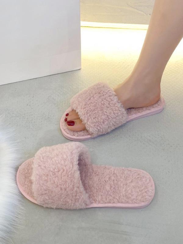 Plain Faux Fur Flat Slides