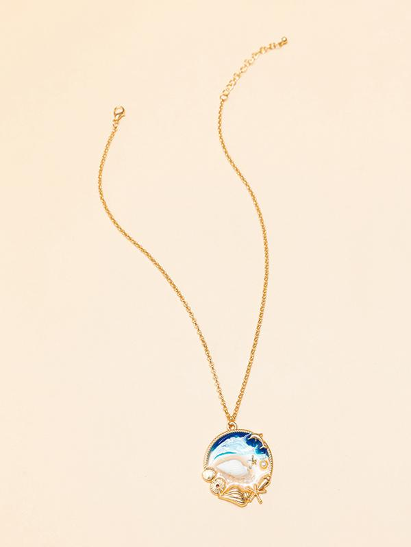Beach Ocean Shell Epoxy Necklace