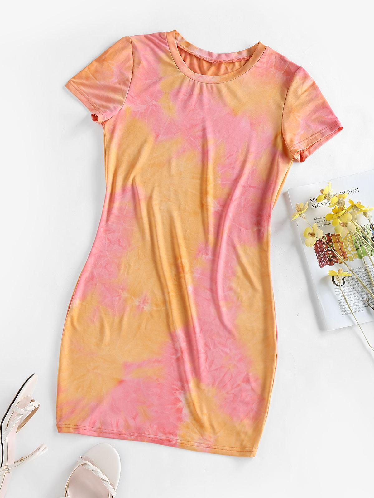 ZAFUL Tie Dye Bodycon Mini Dress