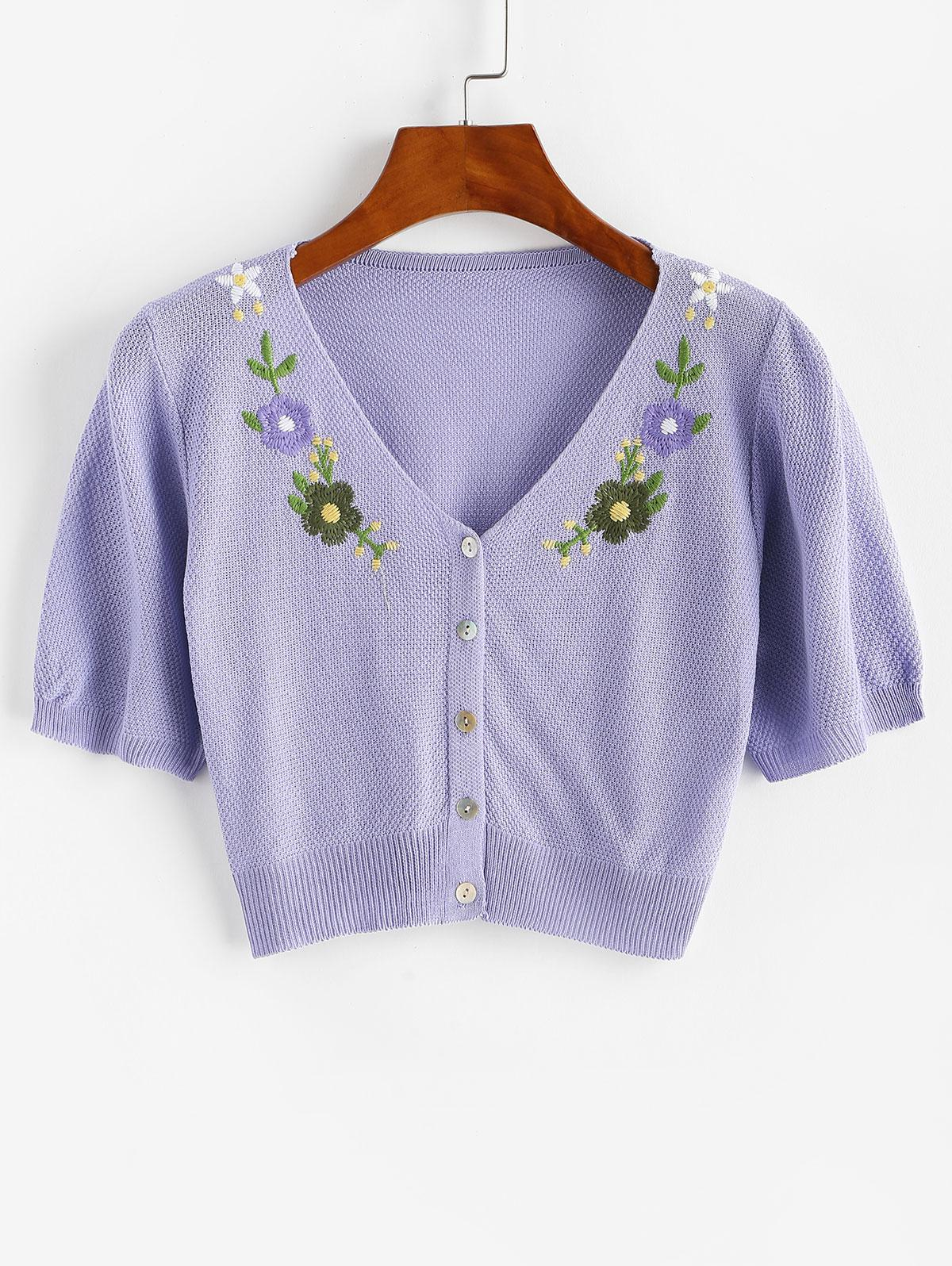Flower Embroidered Knit Button Front Tee