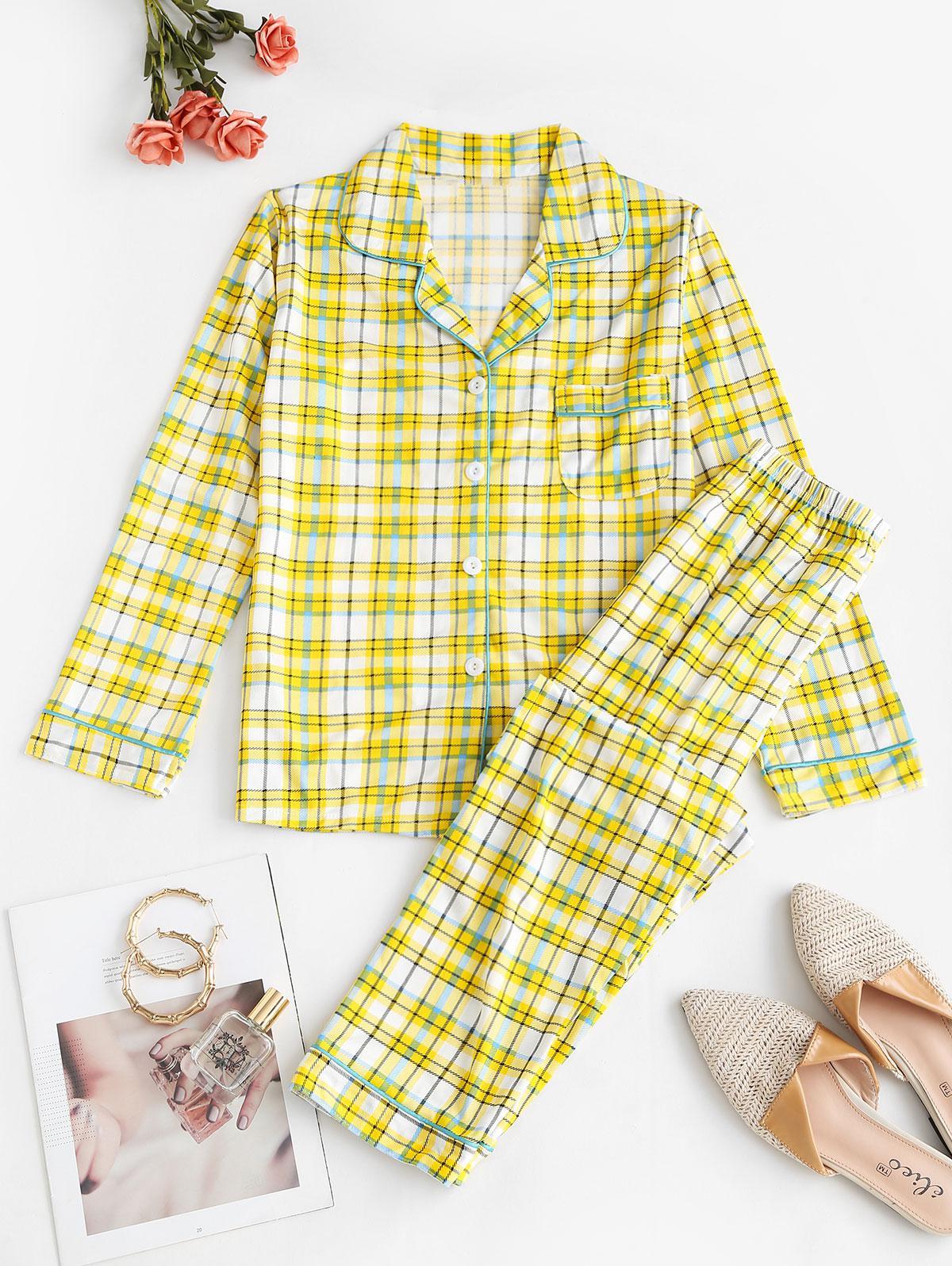 Lapel Plaid Pocket Pajama Pants Set