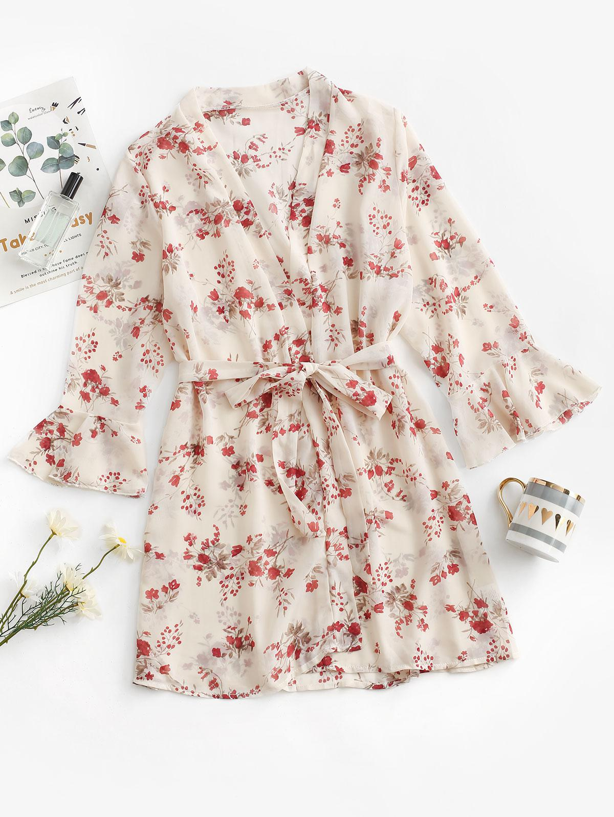 Belted Open Front Floral Chiffon Robe