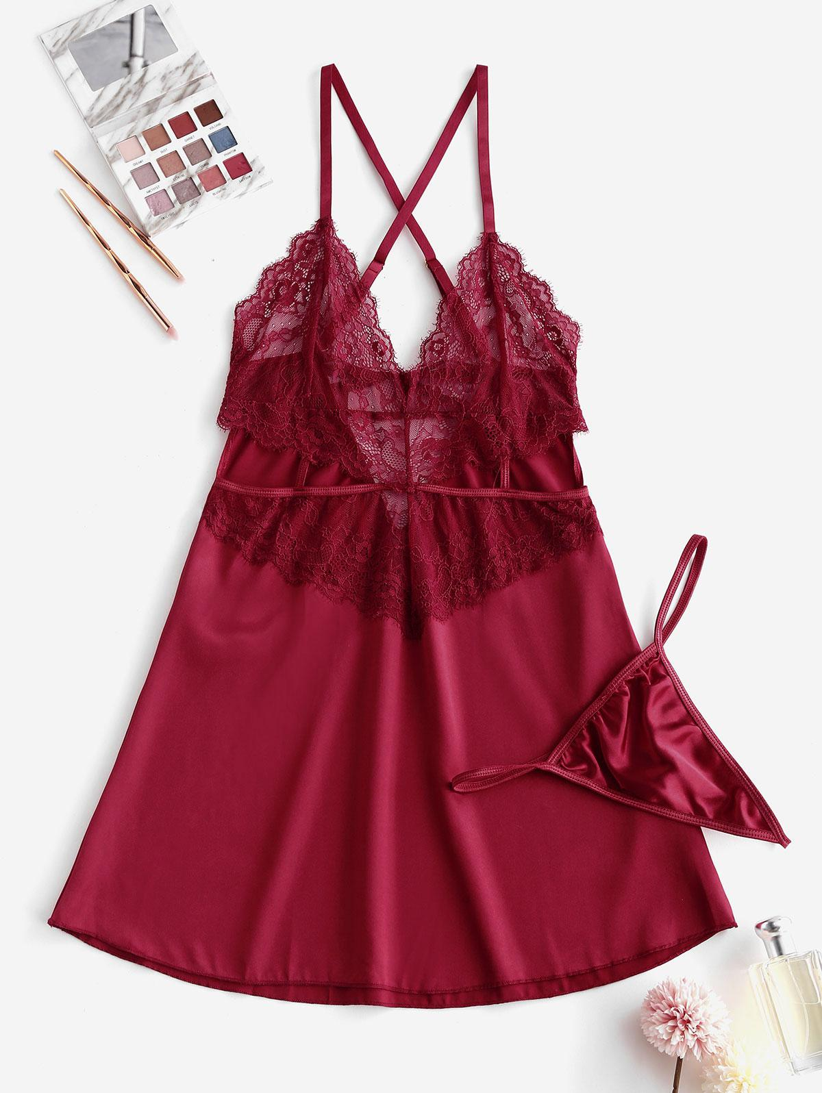 Lace Cutout Satin See Thru Slip Babydoll Set