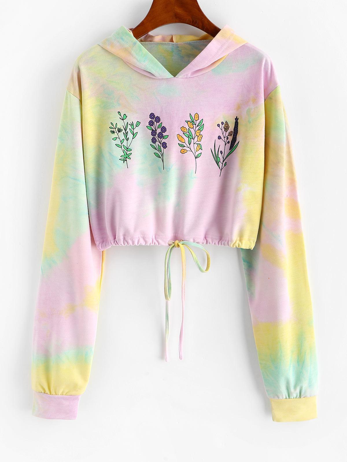 Tie Dye Flower Print Drawstring Crop Hoodie