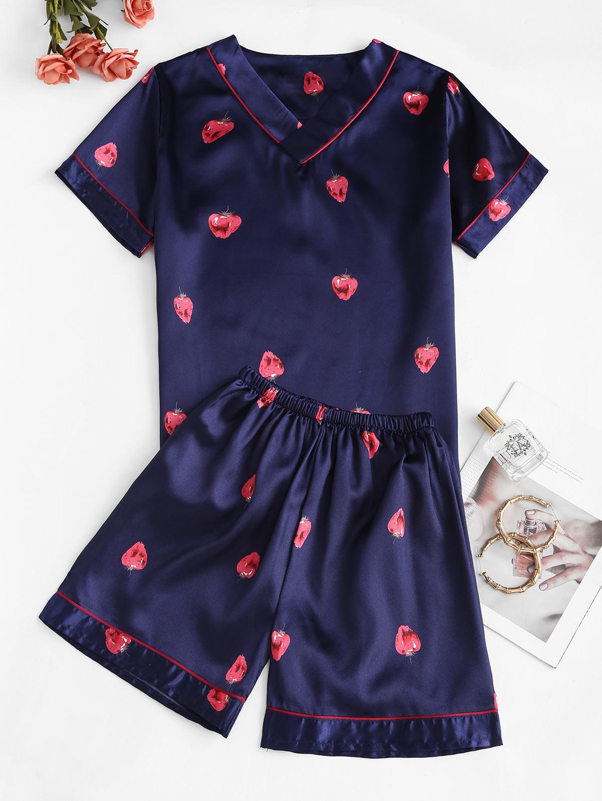 Strawberry Print Satin V Neck Pajama Shorts Set