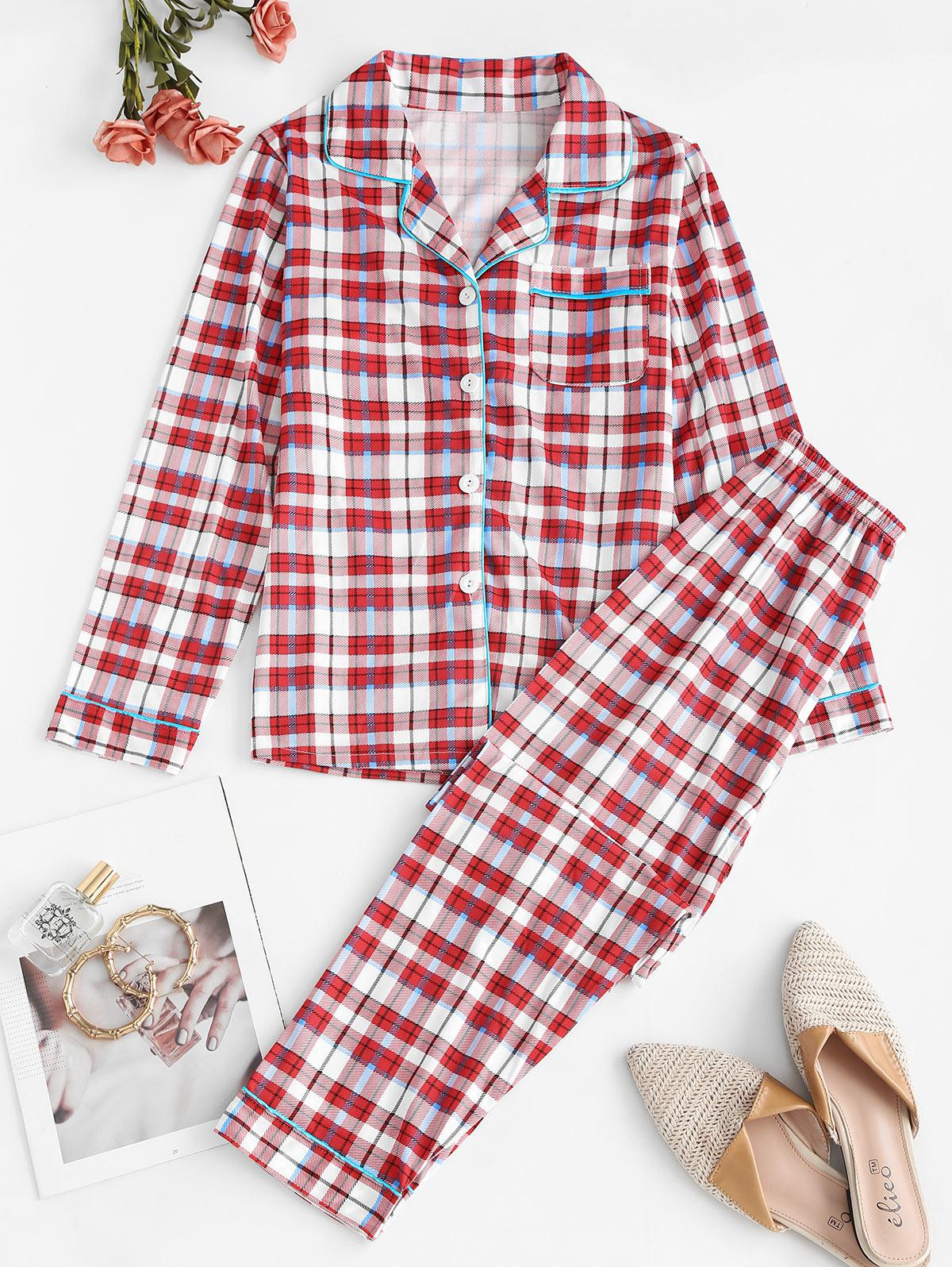 Plaid Pocket Pajama Pants Set