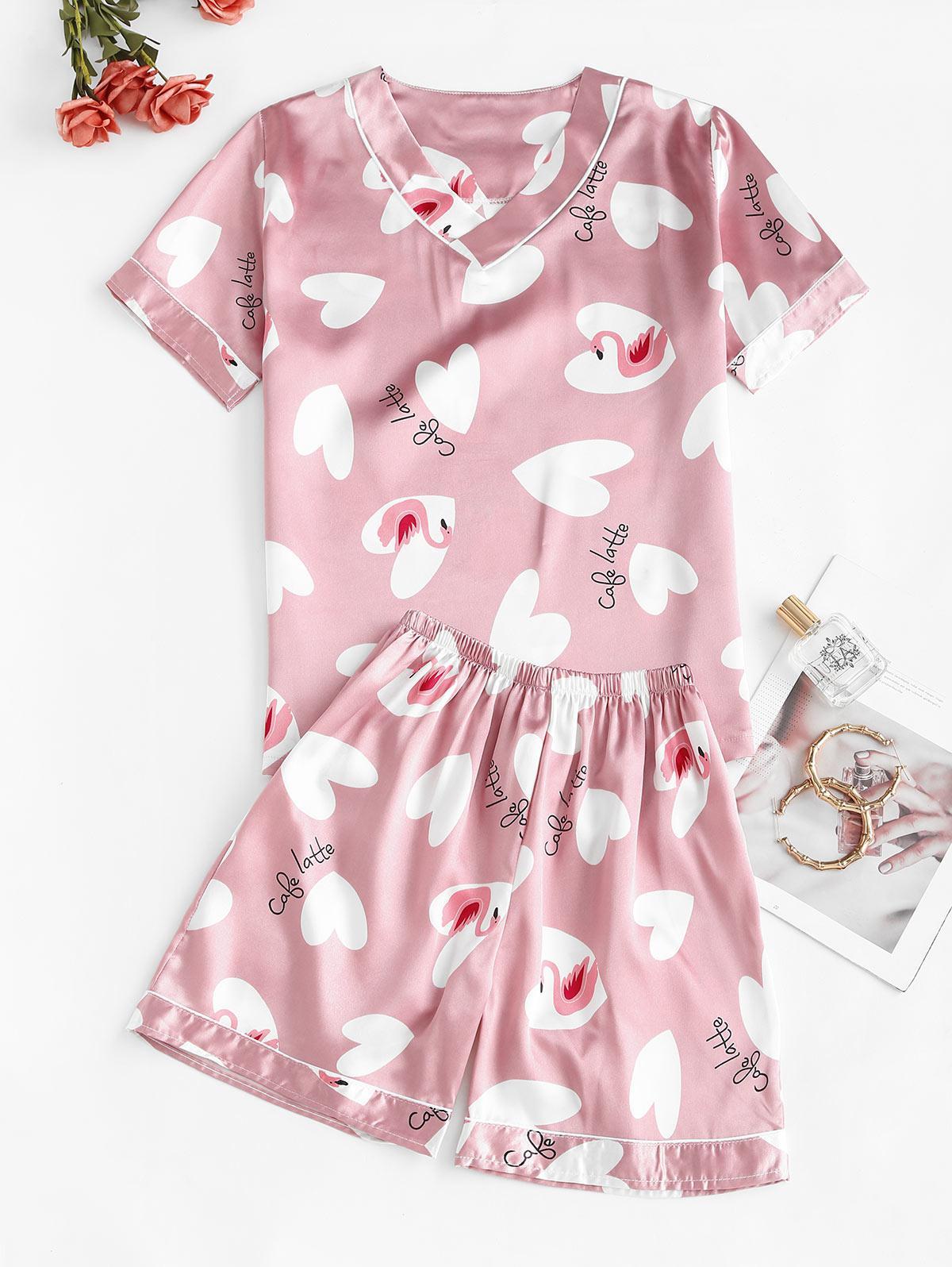 Flamingo Heart Print Satin Pajama Shorts Set