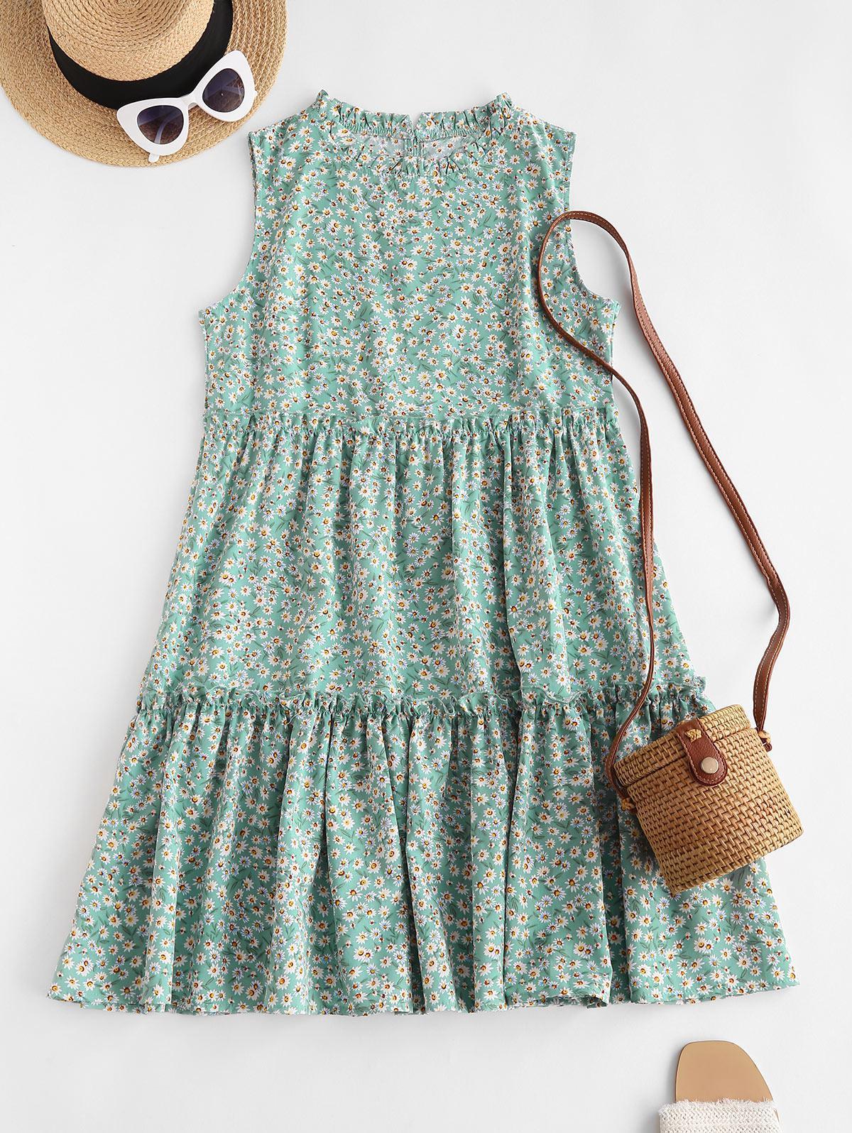 Tiny Floral Print Sleeveless Tiered Dress