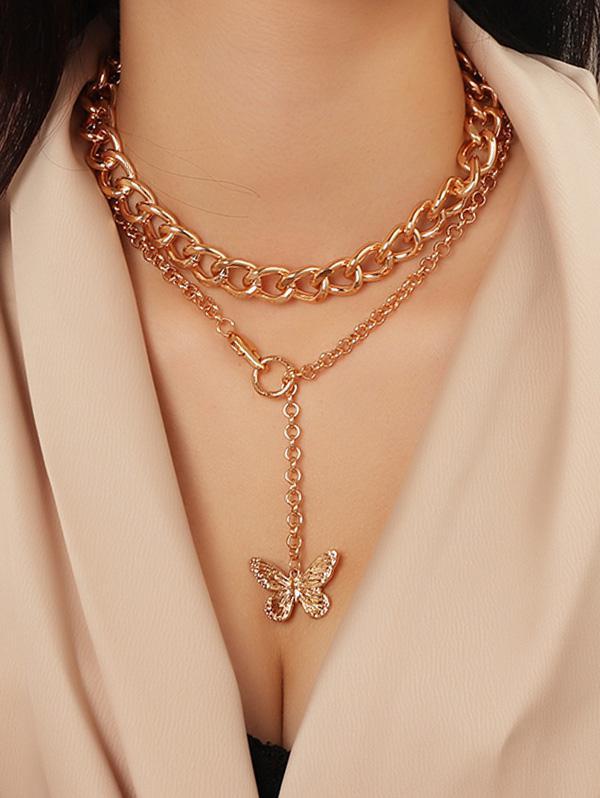 2Pcs Butterfly Pendant Chain Necklace Set