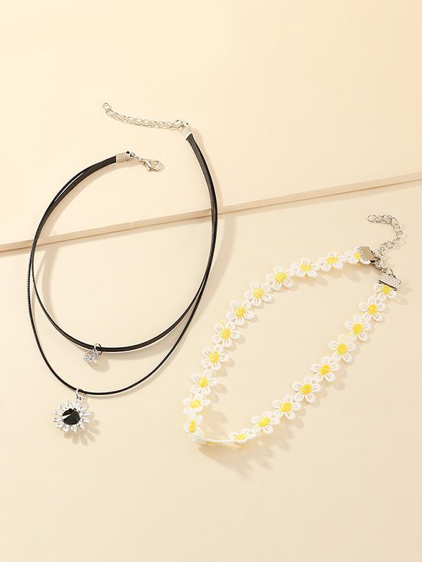 2Pcs Sunflower Choker Necklace Set