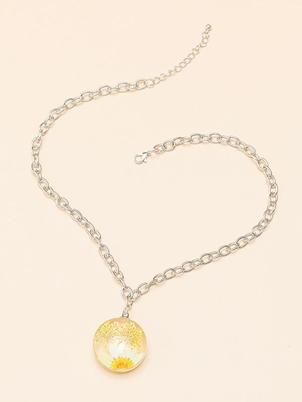Flower Round Pendant Chain Necklace