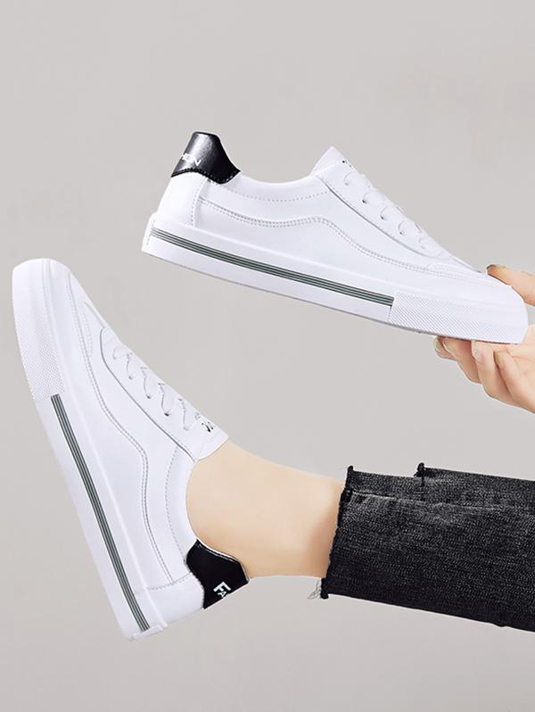 PU Leather Casual Low Top Skate Shoes