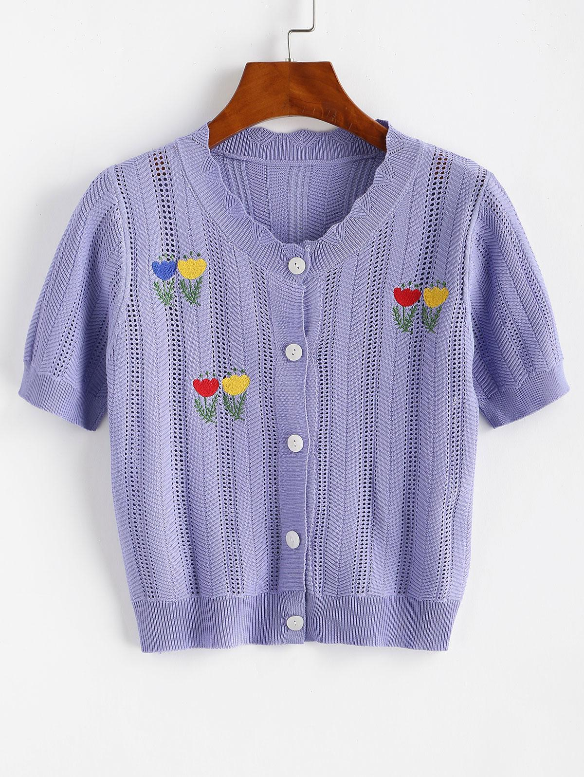 Pointelle Knit Embroidered Button Front Tee