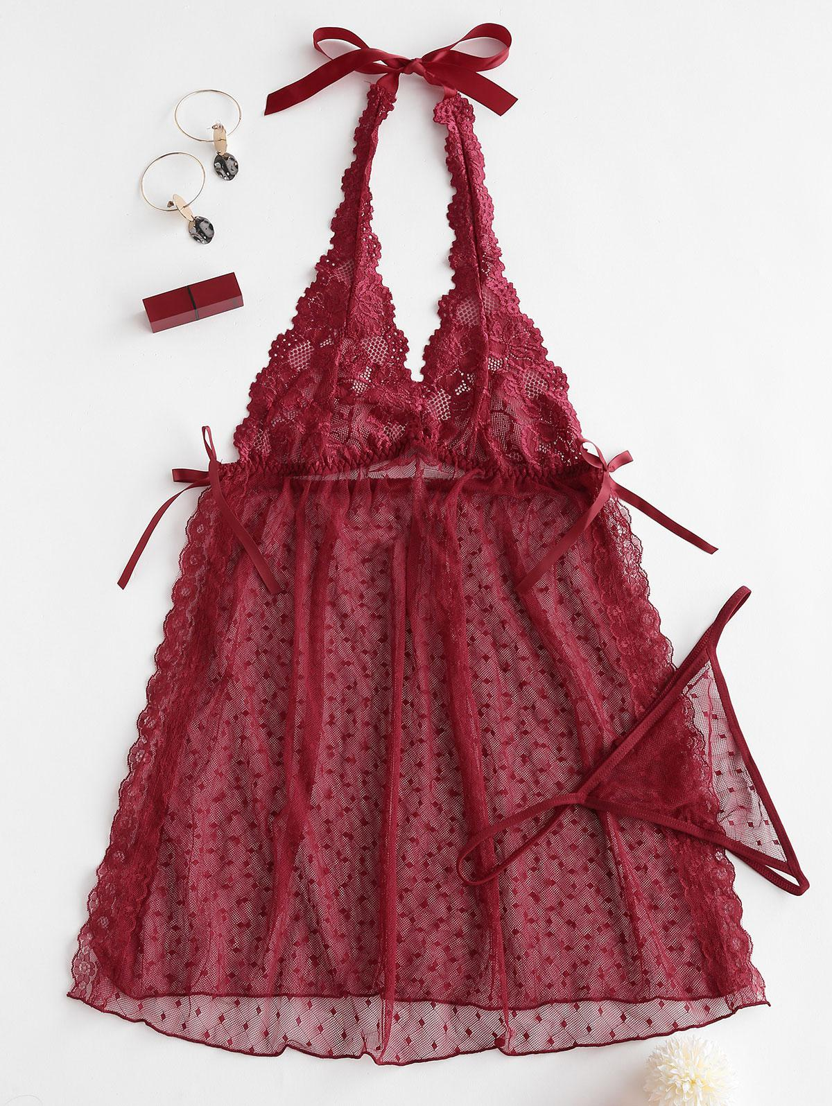 Halter Lace Slit Backless Sheer Babydoll Set