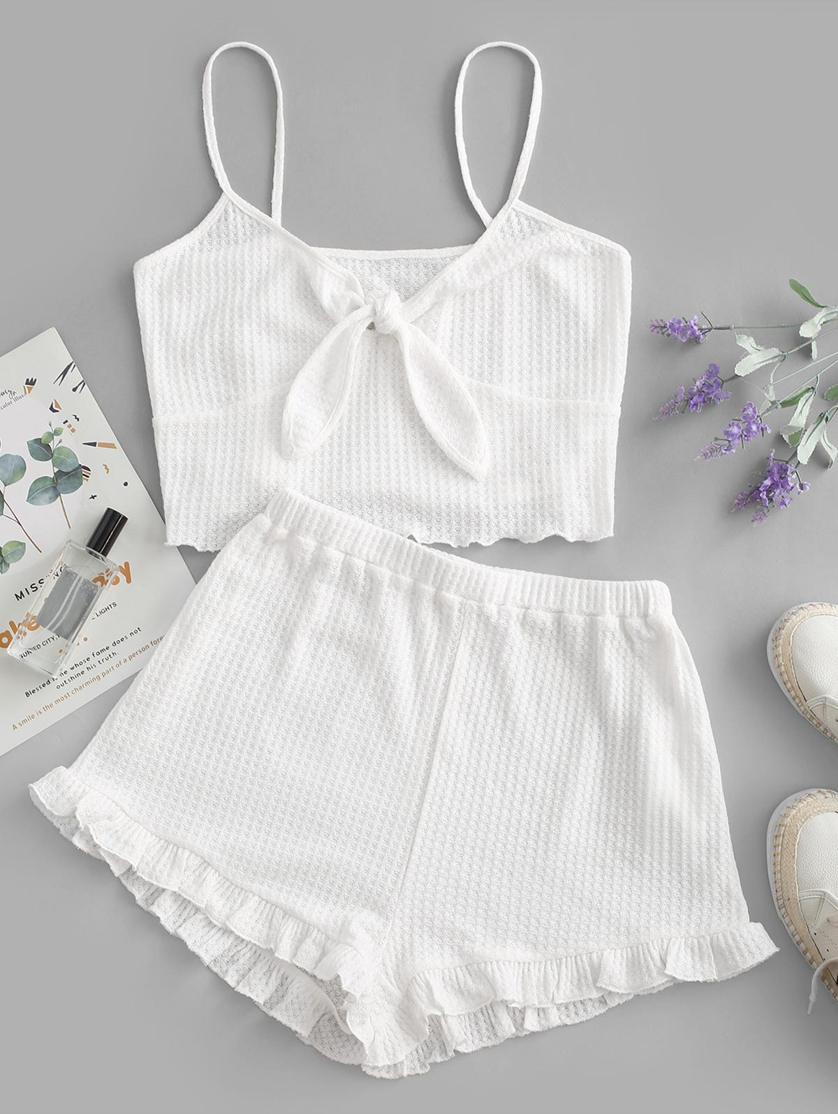 zaful Knitted Tied Pajama Shorts Set