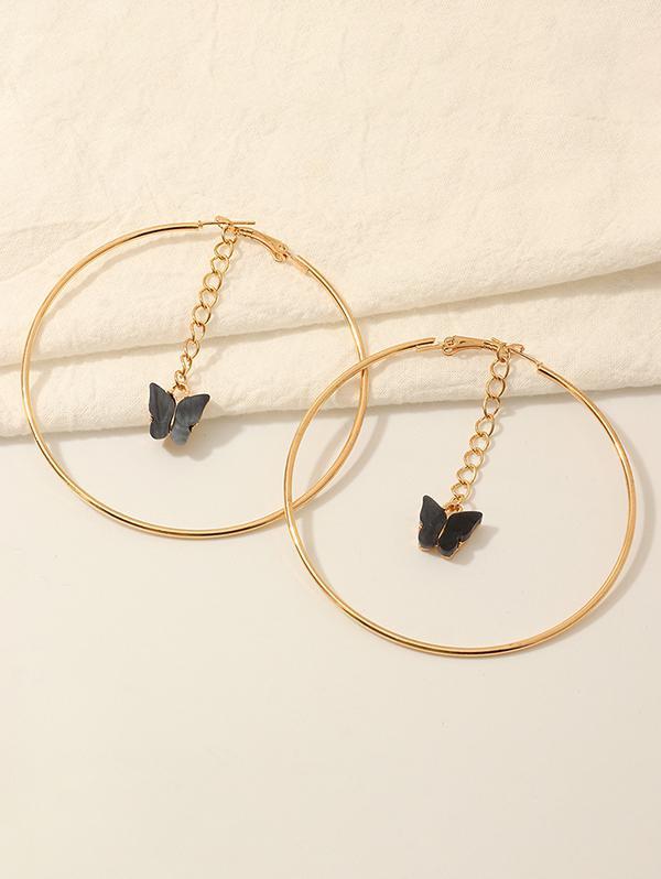Butterfly Acrylic Pendant Hoop Earrings