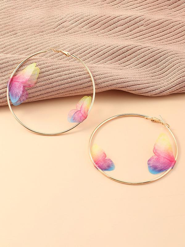 3D Butterfly Hoop Earrings
