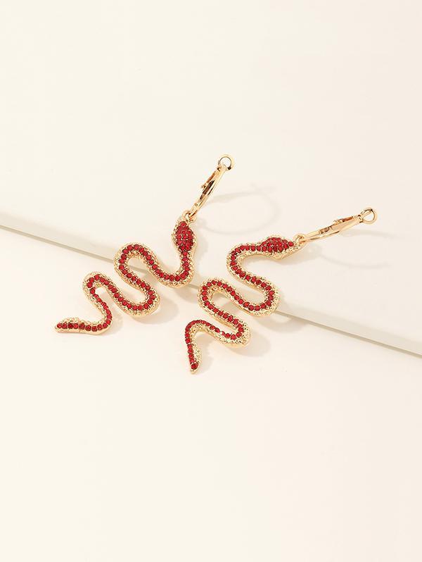 Snake Pendant Rhinestone Hoop Earrings