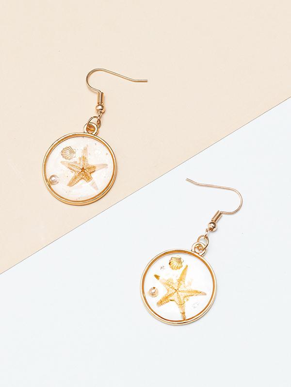 Ocean Starfish Shell Drop Earrings