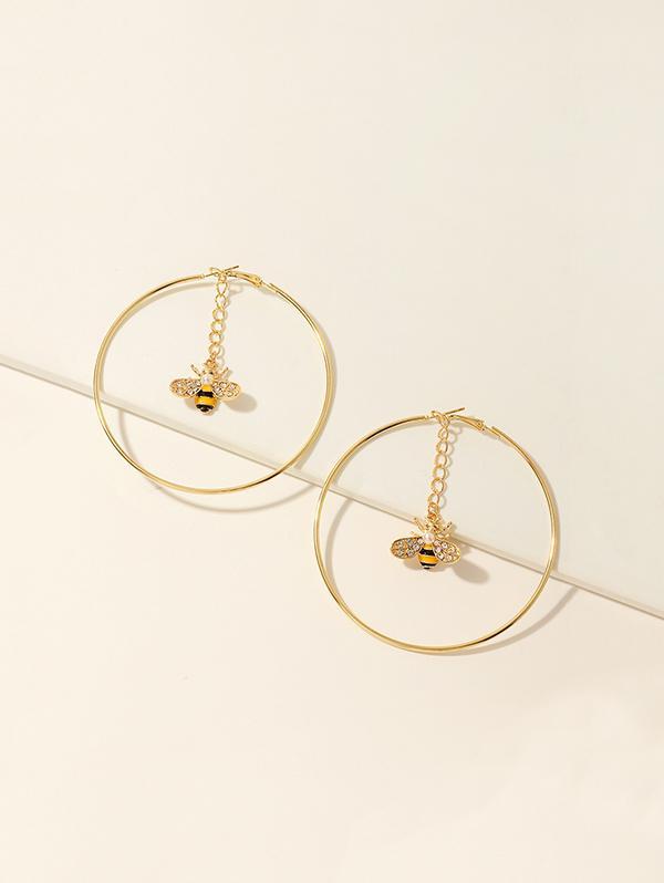 Bee Rhinestone Hoop Earrings