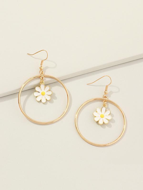 Daisy Flower Circle Dangle Earrings