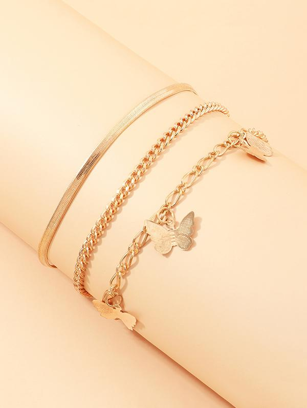 3Pcs Butterfly Chain Anklets Set